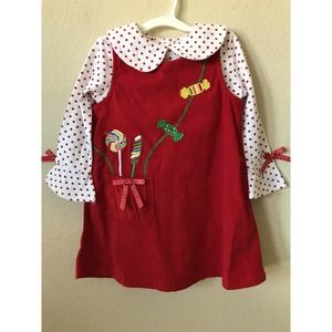 Candy Bows Long Bell Sleeve Top Corduroy Dress Set